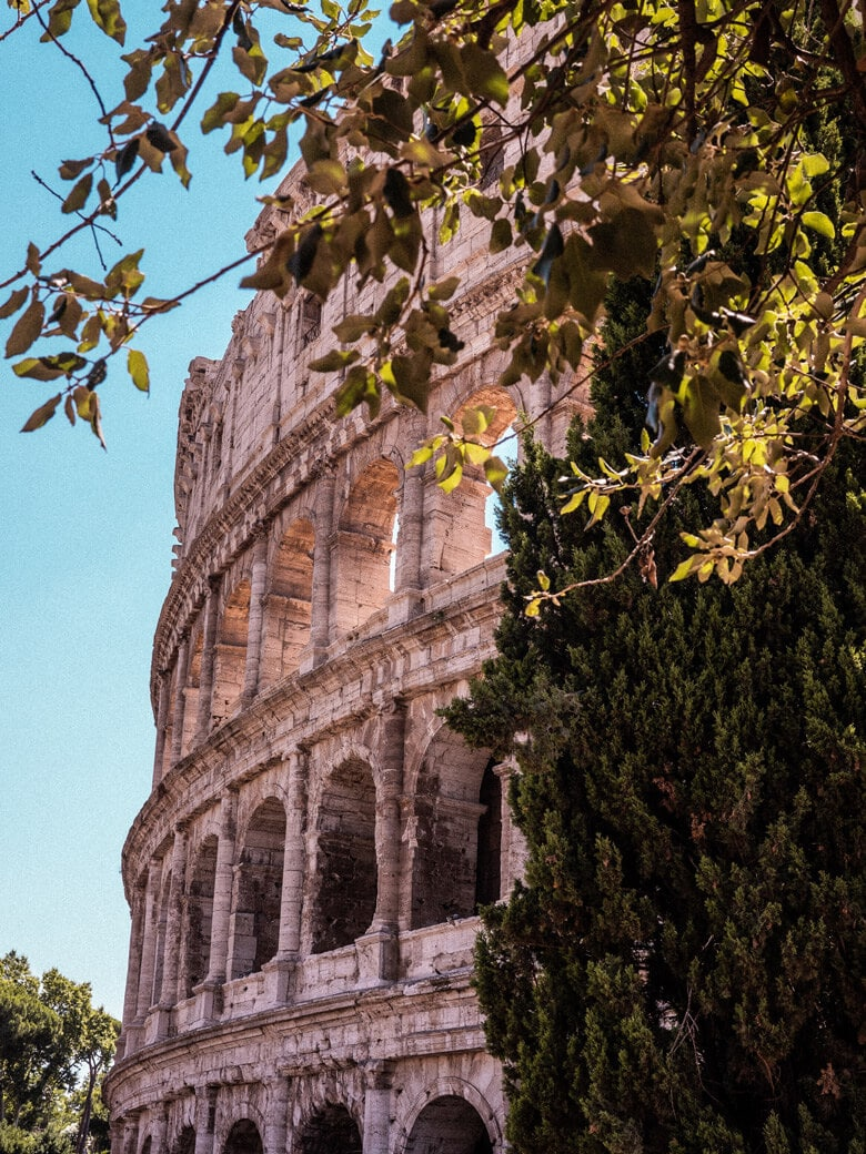 Outside view of colosseum in Rome