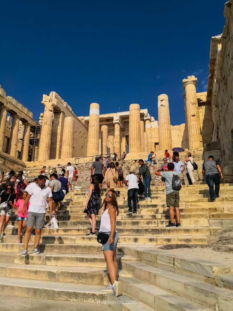 Girls standing at Parthenon stairs