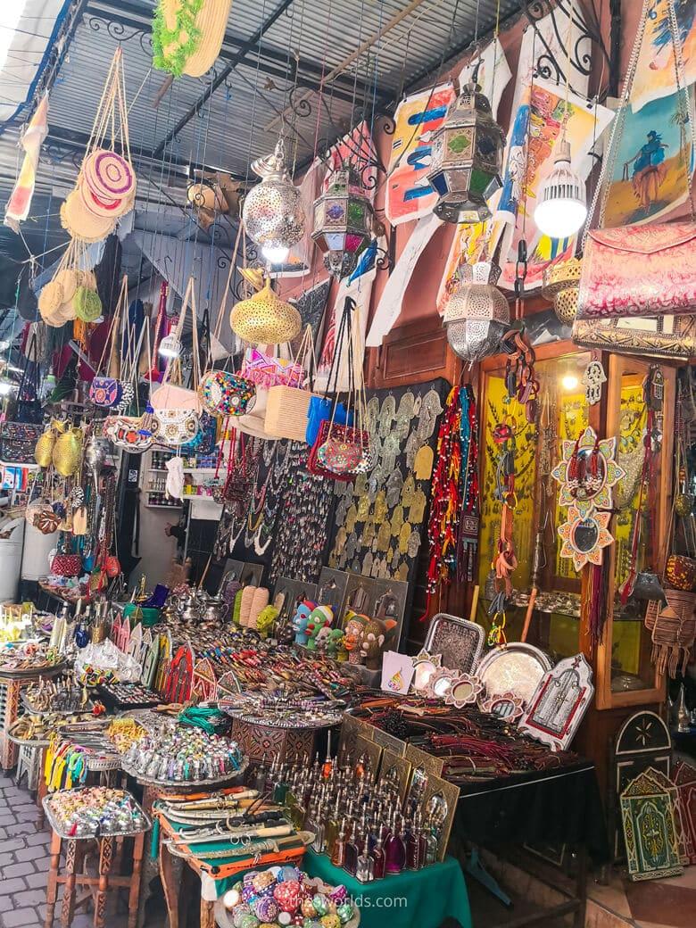 Selling street accessories in Marrakech