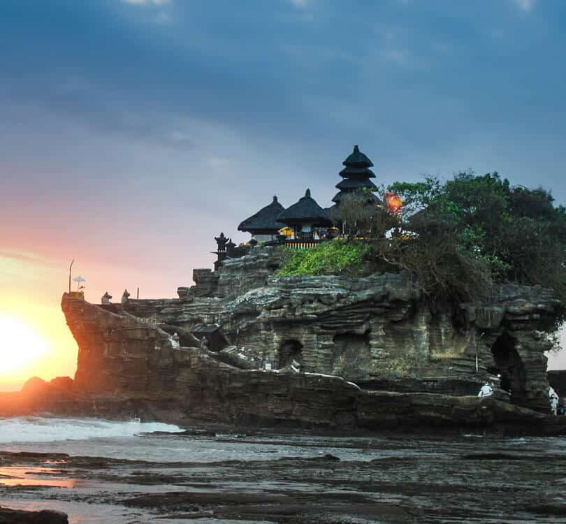View of a temple on a rock at Canggu in Bali