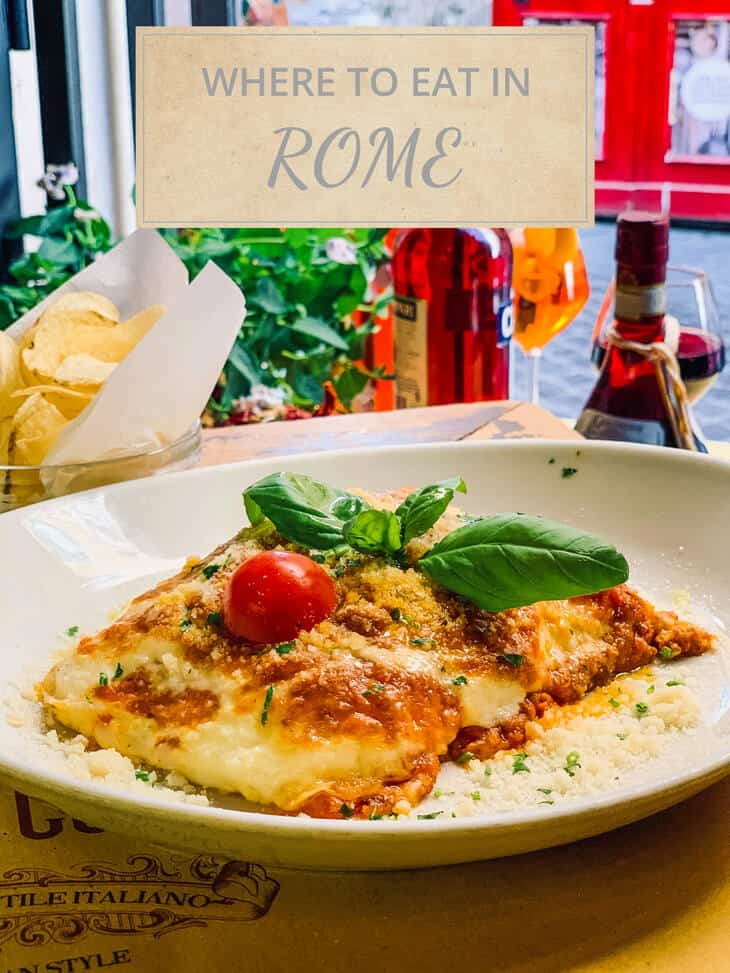 Where to eat in Rome with lasagne in the background