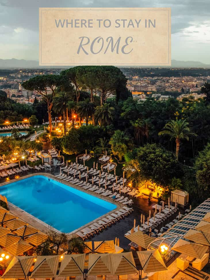 Where to stay in Rome with pool and trees in the background