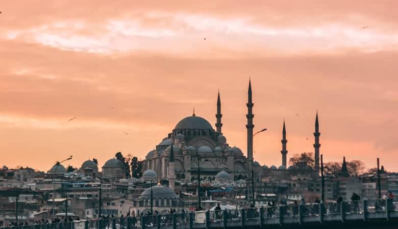 Sundown view of buildings in Istanbul
