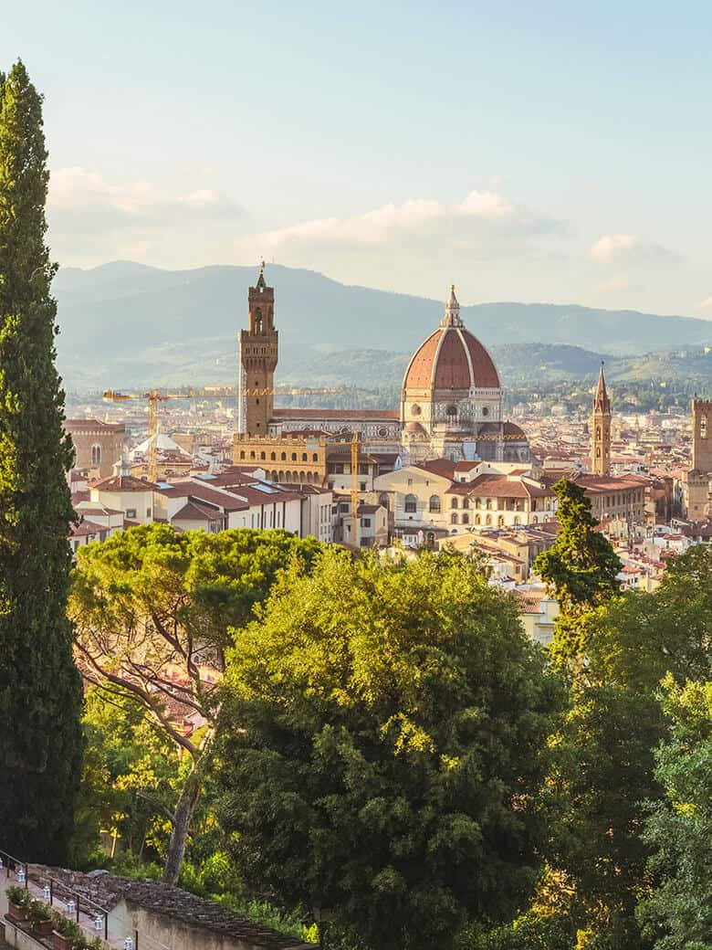 View of top of Cathedral of santa maria del fiore in Florence
