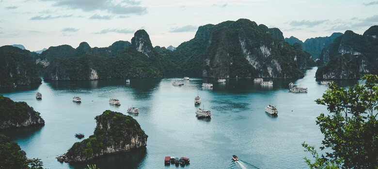 Islands and boats in sea in Vietnam