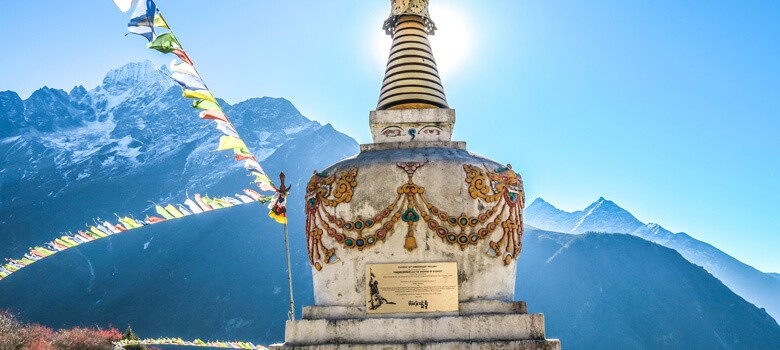 Statue in front of mountain in Nepal
