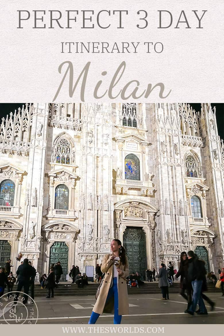 Girl posing in front of Duomo di Milan with caption