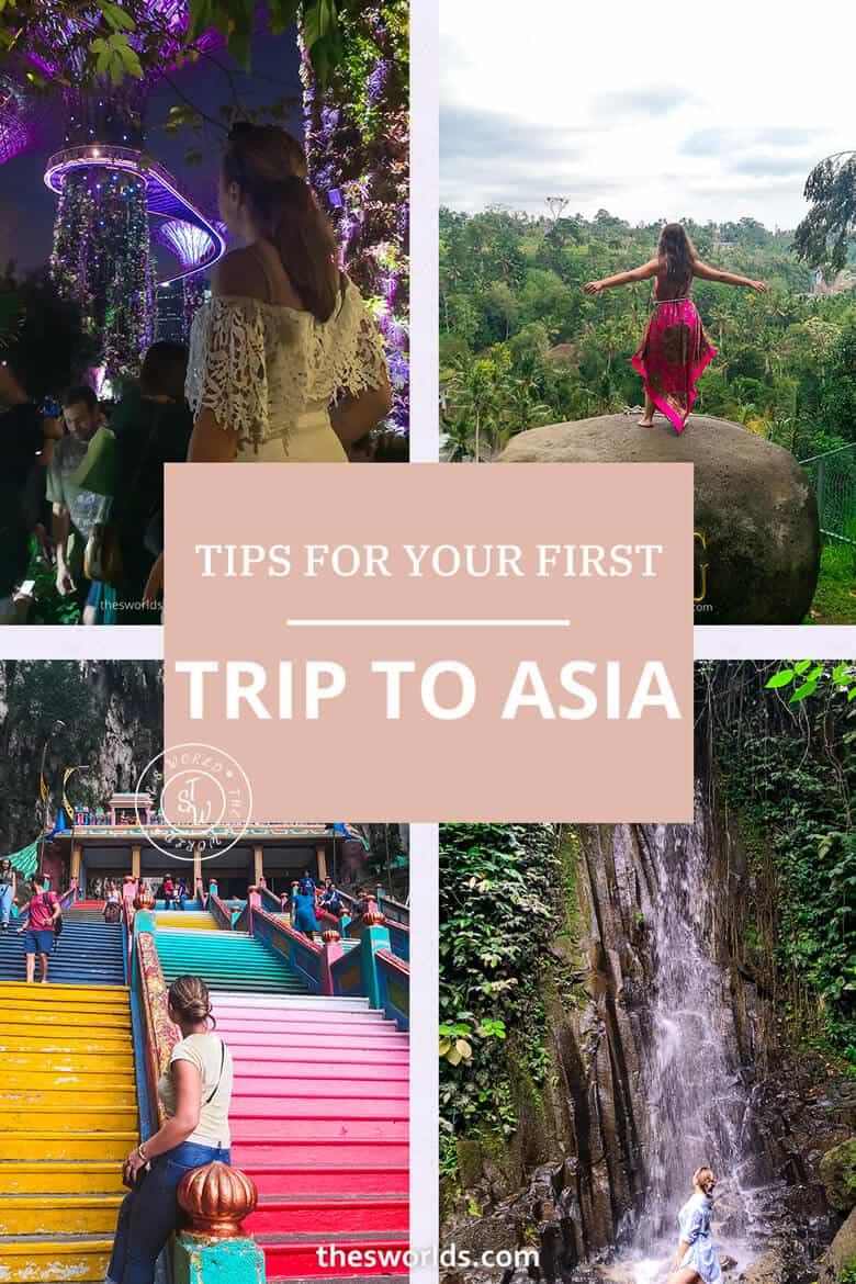 Tips for your first trip to Asia with four images in background