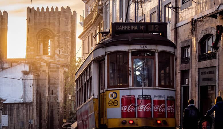 Up close view of tram in Lisbon