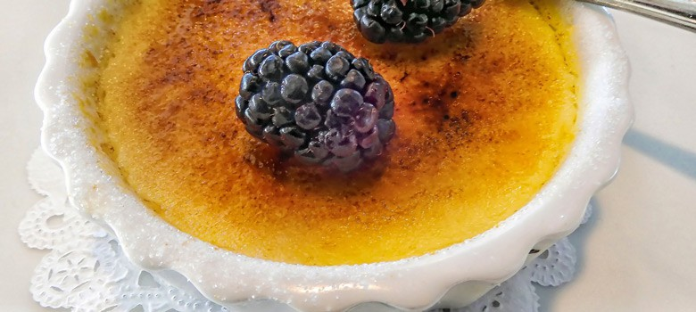 Creme brulee with burberrie at the top