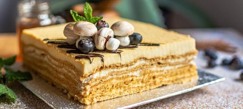 Medovik dessert on tray
