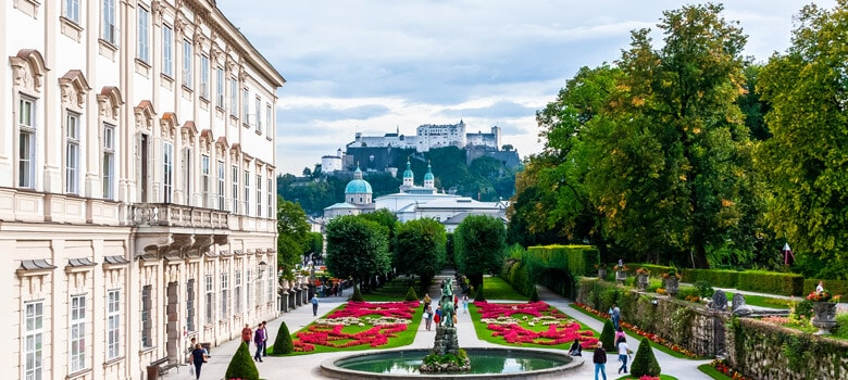 Park view with buildings in Salzburg