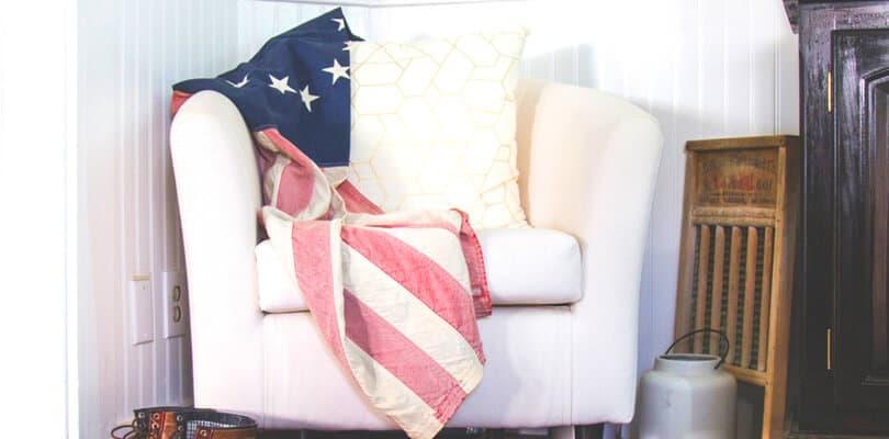 US flag on Decorative pillow