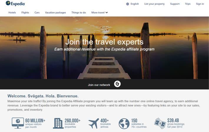 Website view of Expedia affiliate