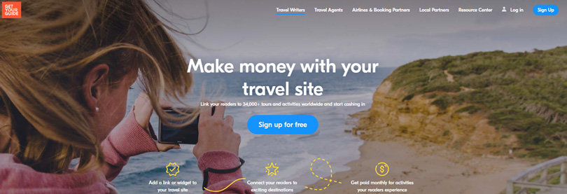 Website view of GetYourGuide Affiliate program