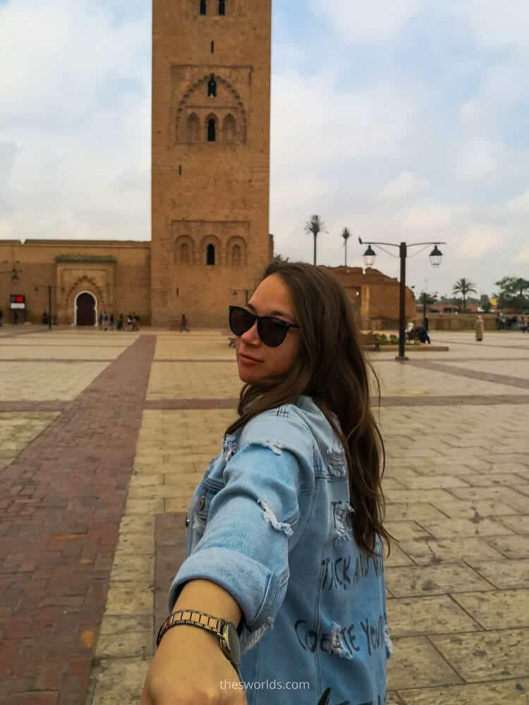 Girl in front of koutoubia mosque marrakech