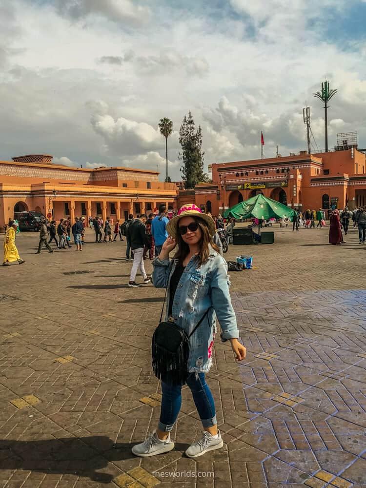 Girl taking photo at jemaa el fna marrakech