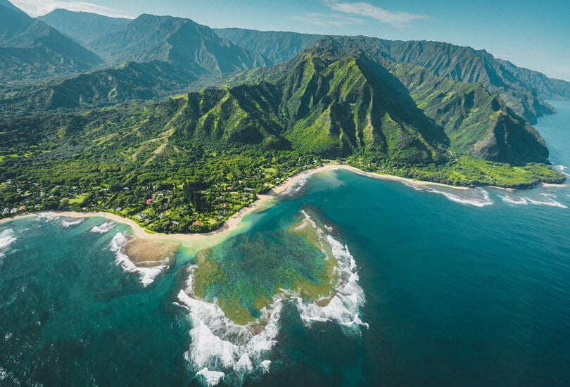 Aerial view of island of Hawaii