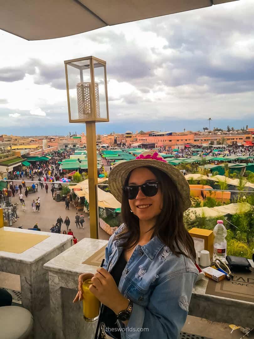 Girl looking from Balcony at Medina of Marrakech