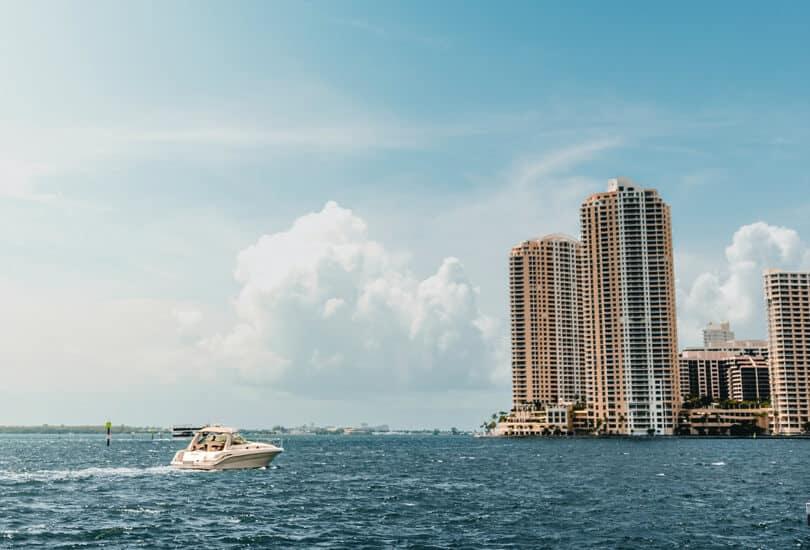 Boat at sea in Miami Florida