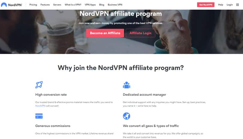 Website view of NordVPN affiliate program