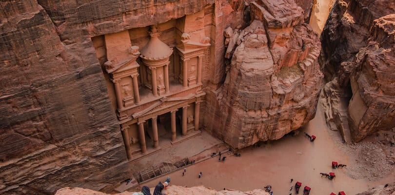 Aerial view of entrance to Petra in Jordan