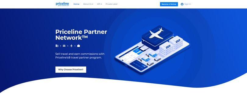 Website view of Priceline affiliate program