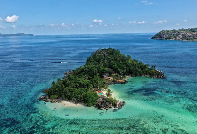 Island with forest in Seychelles