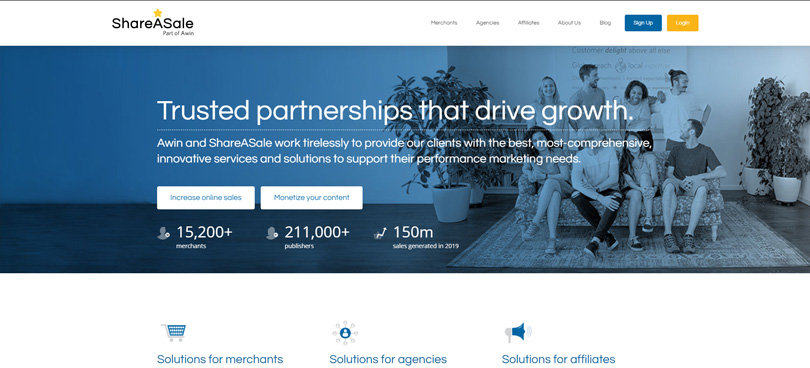 Website view of ShareAsale