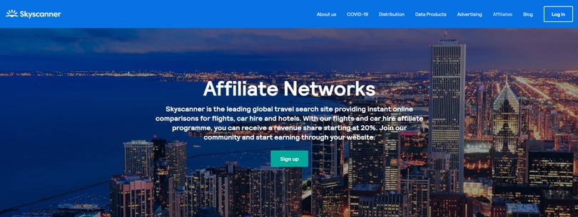 Website view of Skyscanner affiliate