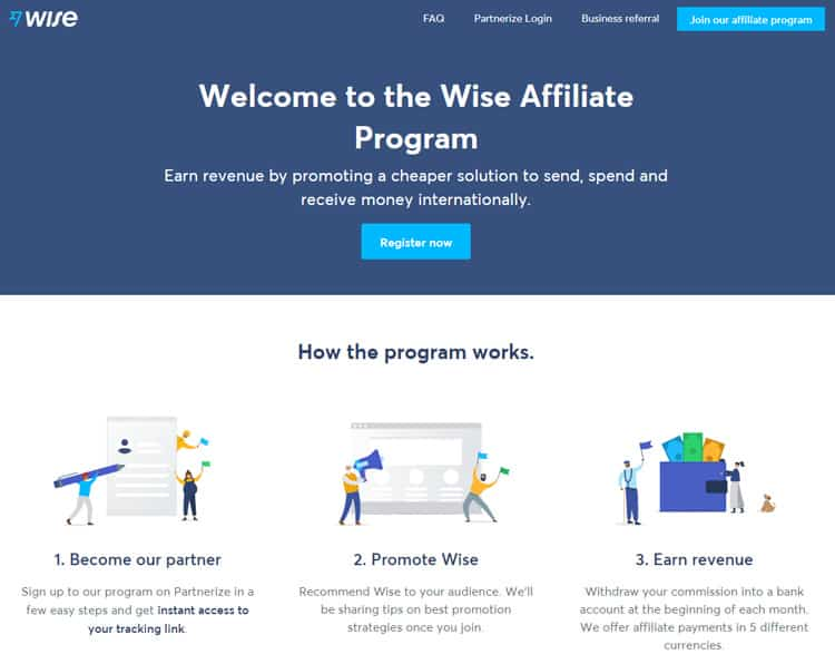 Website view of TransferWise Affiliate program