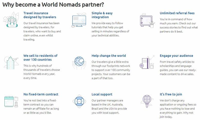 Website view of World Nomads Affiliate program