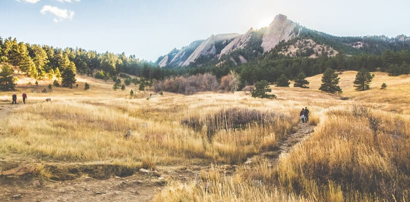 People walking on hiking trails at Boulder, Colorado