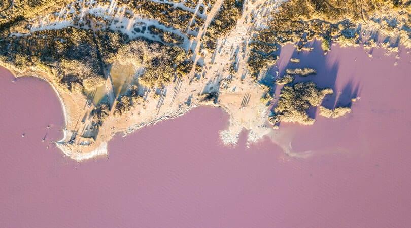 Aerial view of pink lake in Spain