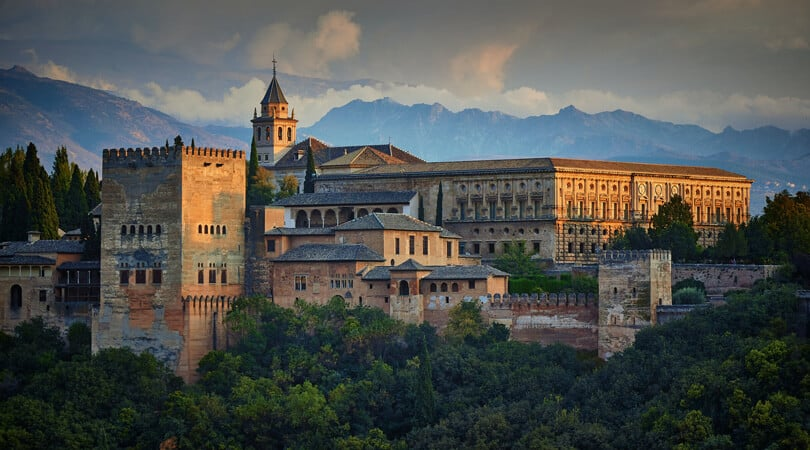 Outside view of Alhambra building in Spain