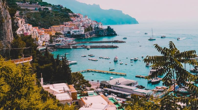 Amalfi coast with buildings and boats in background