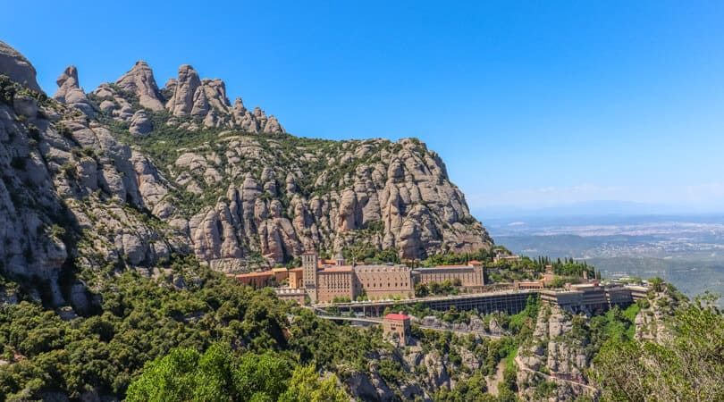 Building connected to mountain in Spain