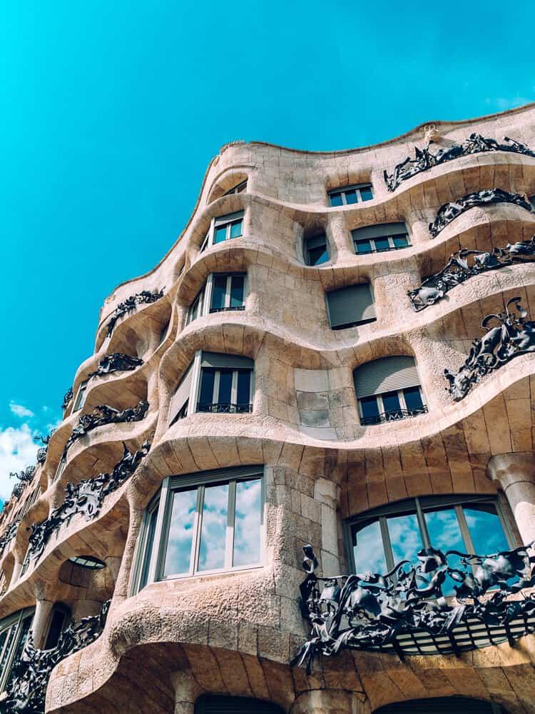Outside view of Casa Mila in Barcelona, Spain
