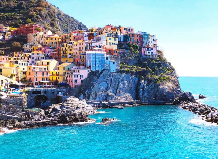 Houses on a cliff at Cinque Terre