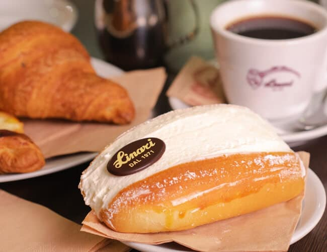 Sweet pastry with coffee at Pasticceria Linari Rome
