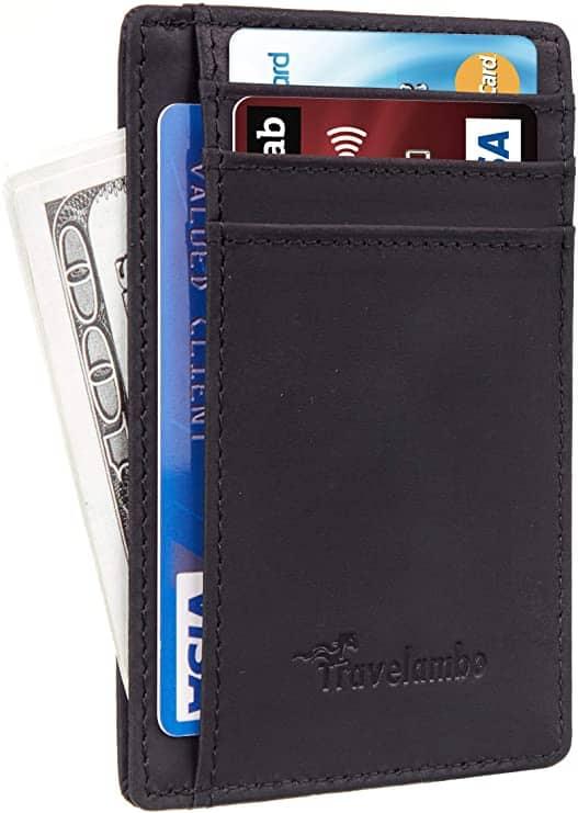 Black Travelambo minimalist travel wallet