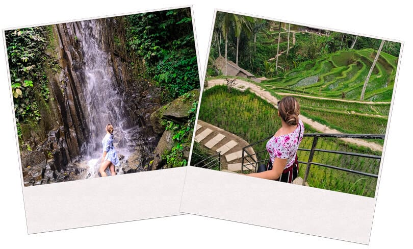 Two images of a person posing at Bali in Indonesia