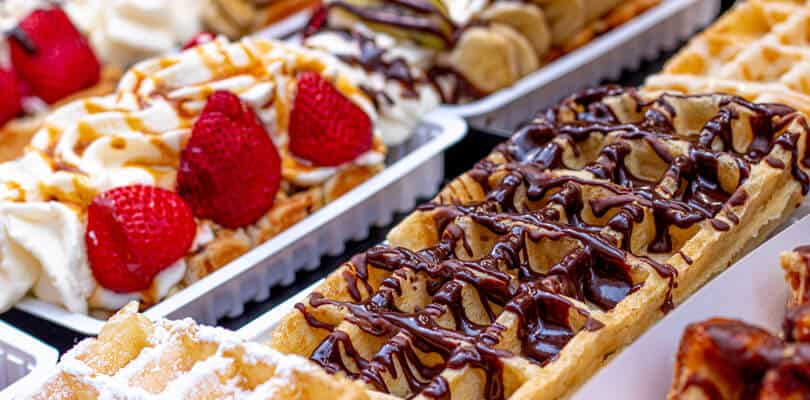Belgium waffles street food