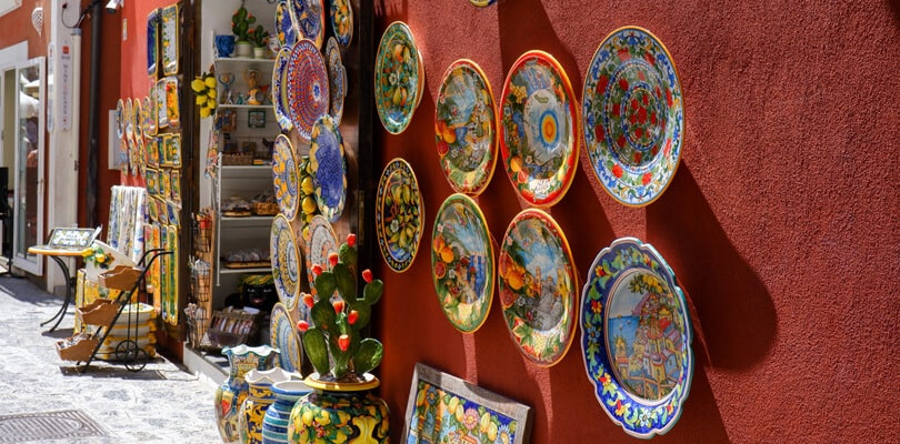 Ceramics on red wall