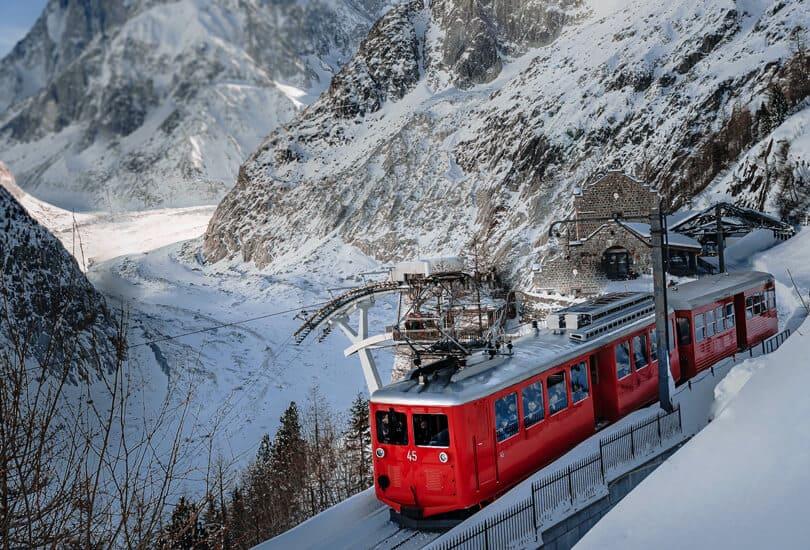 Chamonix Red Tram in France