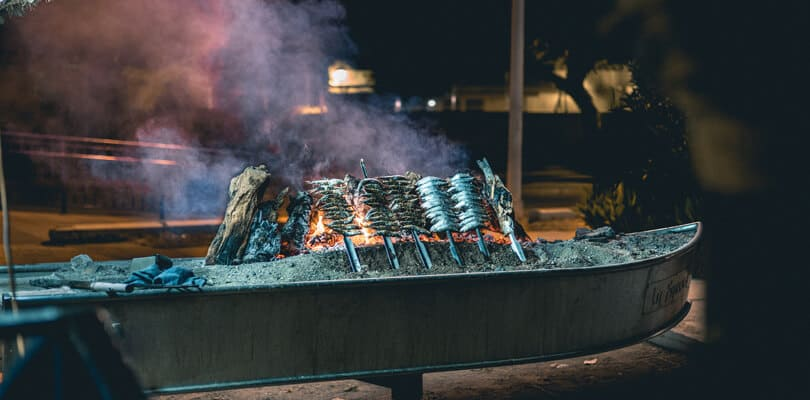 Fish on a grill in Spain