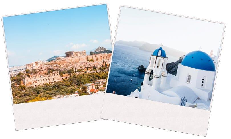 Image of Athens and Santorini