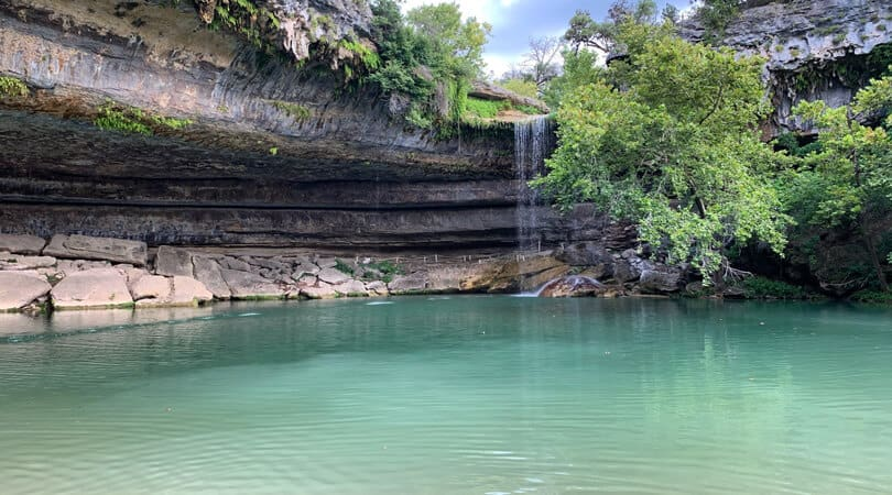 Small waterfall at Hamilton pool preserve in Texas