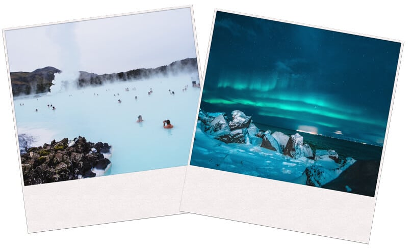 Image of People swimming and north light in Iceland