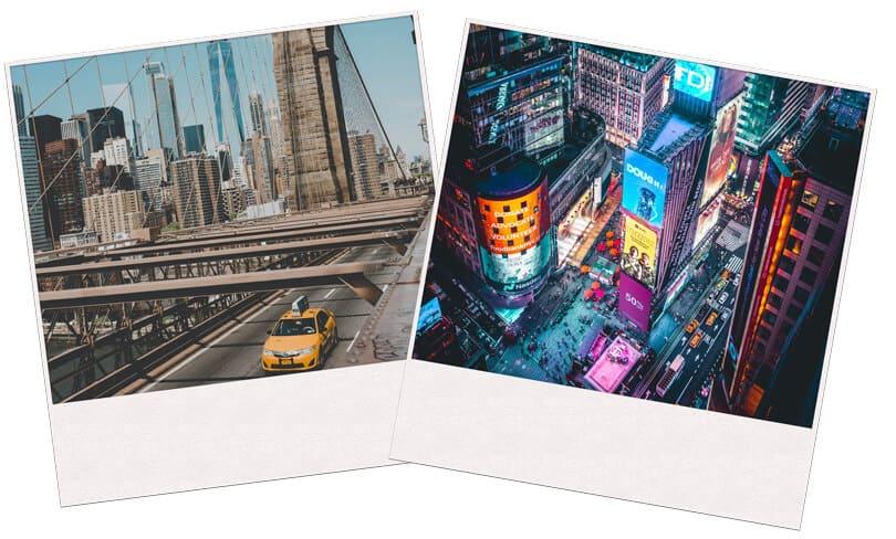 New York taxi and NY at Night